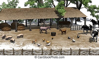 small farm with animals - isolated on white background