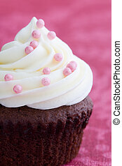 Cupcake - Chocolate cupcake decorated with pink dragees