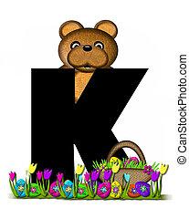 teddy, alfabeto,  K, caccia, pasqua, uovo