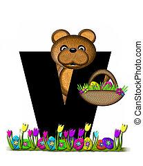Alphabet Teddy Easter Egg Hunt V - The letter V, in the...