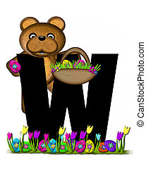 Alphabet Teddy Easter Egg Hunt W - The letter W, in the...