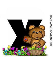 teddy, alfabeto, caccia,  X, pasqua, uovo