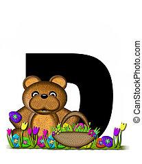 D,  teddy, alfabeto, caccia, pasqua, uovo