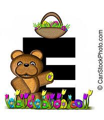 Alphabet Teddy Easter Egg Hunt E - The letter E, in the...