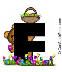 Alphabet Teddy Easter Egg Hunt F - The letter F, in the...