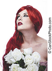 Glamour girl with red hair huge antique dress and white...