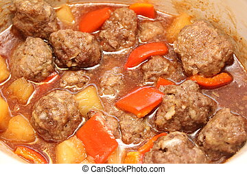 Sweet and Sour Meatballs - Close-up of Sweet and Sour...