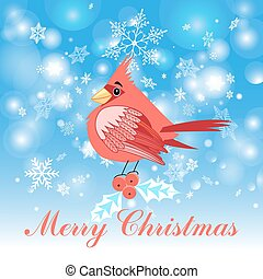 red cardinal bird - Beautiful Christmas illustration of a...
