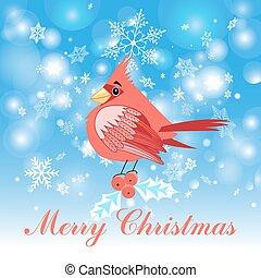 red cardinal bird - Beautiful Christmas illustration of a...