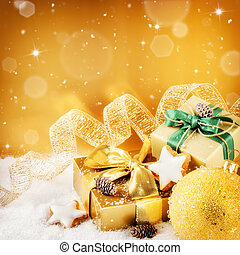 Christmas ornaments and gifts in golden tone