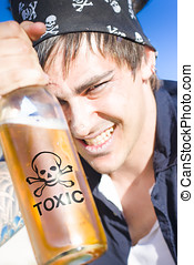 Alcohol Abuse Concept Sees A Drunk Seaman, Sailor Or Pirate...
