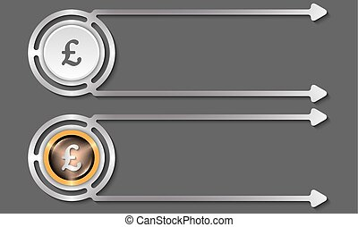 Silver abstract boxes for your text and pound sterling icon
