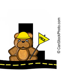 Alphabet Teddy Highway Work L - The letter L, in the...