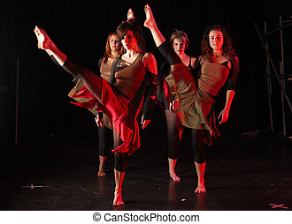 Dancers on stage - A group of female freestyle hip-hop...