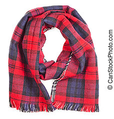 Red tartan scarf isolated - Wool red tartan plaid scarf...