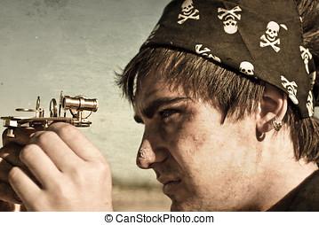 pirata, y, compás,