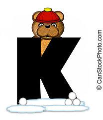 Alphabet Teddy Wintertime K - The letter K, in the alphabet...