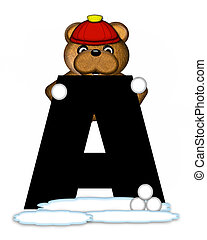 Alphabet Teddy Wintertime A - The letter A, in the alphabet...