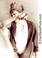 Hand To Hand Combat - Sepia Tone Vintage Image Of A Pirate...