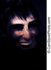 Oscuridad, escalofriante, y, fantasmal, Undead, pirata,