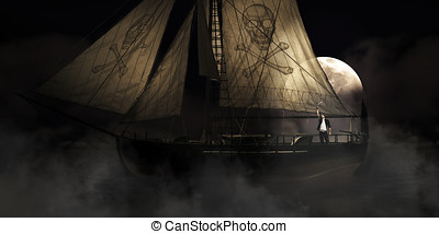 Pirate Ship - Misty Moonlight Seascape Scene Of A Pirate On...