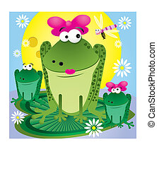 Family of fun cartoon frogs for greetings card, vector...