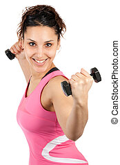 woman lifting dumbells - happy sport woman lifting...