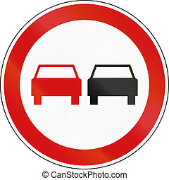 Slovenian regulatory road sign - No overtaking