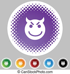 Evil Grin Emoticon - Evil grin emoticon isolated on a white...