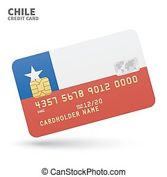 Credit card with Chile flag background for bank,...