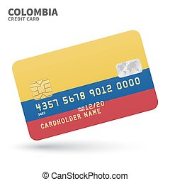 Credit card with Colombia flag background for bank,...