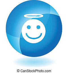 Angel Emoticon - Angel emoticon icon isolated on a white...