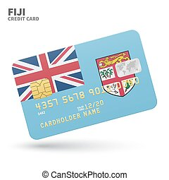 Credit card with Fiji flag background for bank,...