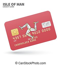 Credit card with Isle of Man flag background for bank,...