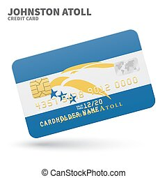 Credit card with Johnston Atoll flag background for bank,...