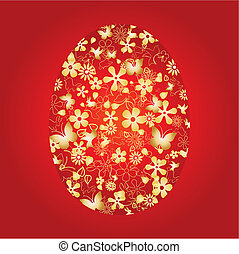 Decorative easter egg on red background, vector illustration