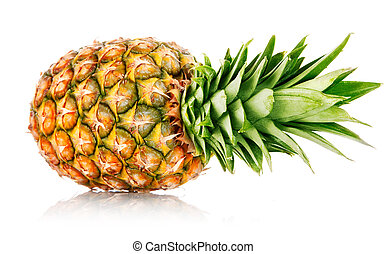 ripe ananas fruit with green leaves isolated on white...