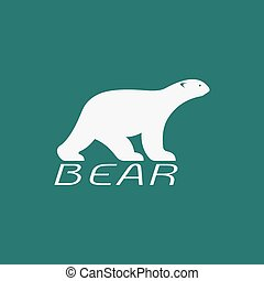Vector image of an bear white design on blue background