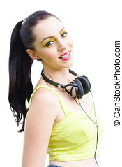 Retro Rock Girl - Studio Portrait Of A Happy Beautiful Retro...