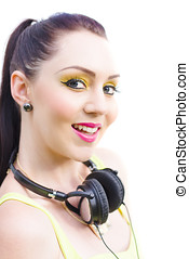 Headphones - Face Of A Smiling Woman In Colorful Cosmetics...