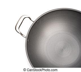 top view wok on white