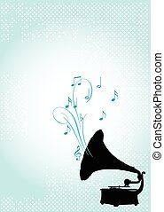 Gramophone - Design of gramophone on abstract background