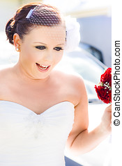 Bride On The Big Day - A Pretty Young Bride Wearing Birdcage...
