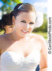 Gorgeous Bridal Makeup - A Young And Beautiful Bride Wearing...