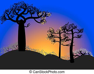 Silhouette of baobabs on a sunset sky background. Nature of...