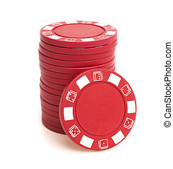 stack of poker chips on white with clipping path