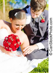 Intimate Wedding Moment - A Smiling And Happy Bride And...