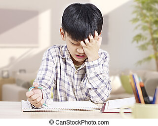 asian child studying - 10 year-old asian elementary...