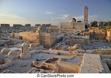 The Citadel of Aleppo is a large medieval fortified palace...
