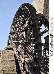 Water-wheel, Hama, Syria - A noria is a machine for lifting...